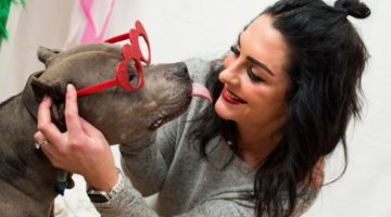 woman and a dog licking her with heart-shaped glasses on