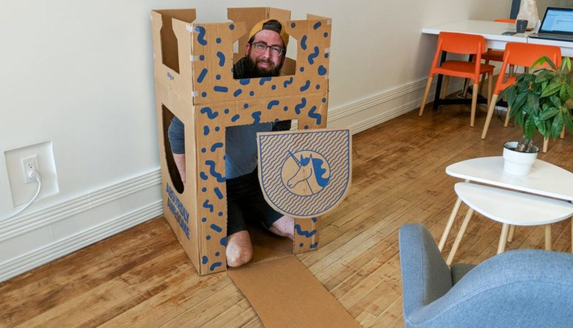 business can be better cohost lane in big joe box made into a castle