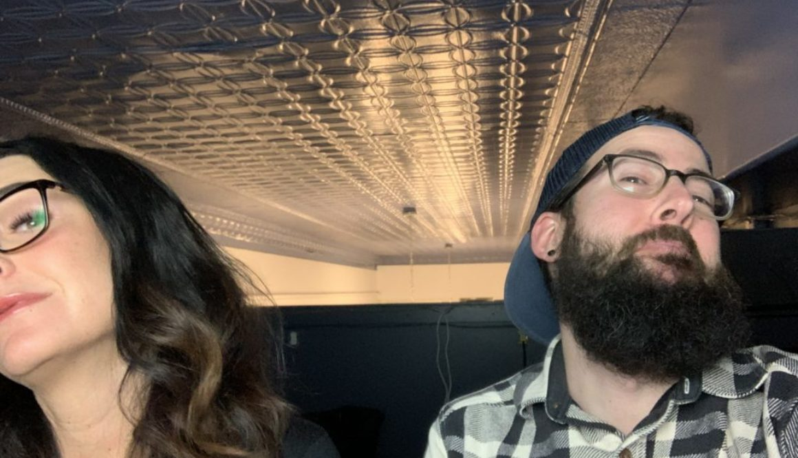 better business podcast host kelli rae and lane making funny faces before podcast