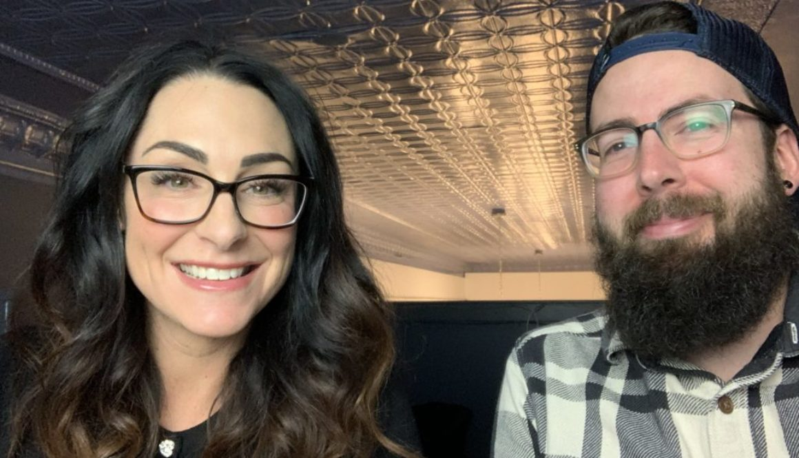 better business podcast host kelli rae and lane taking selfie before new episode