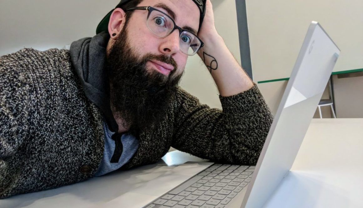 better business podcast host lane looking at computer frustrated
