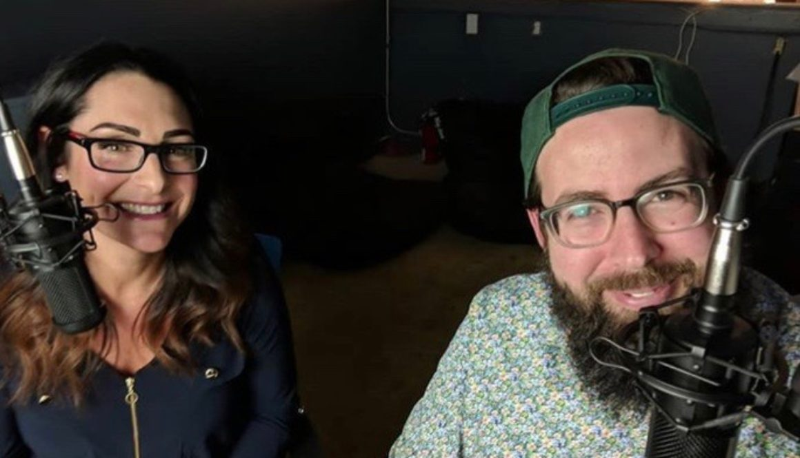 better business podcast hosts kelli rae and lane taking selfie